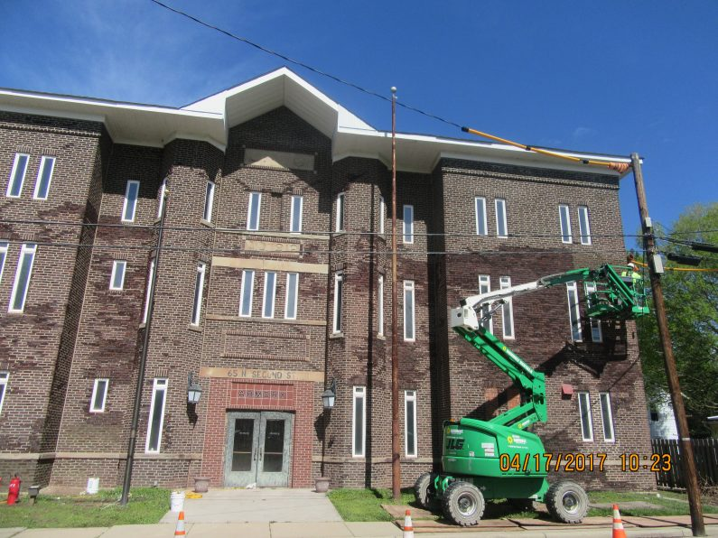 Batavia Armory Tuckpointing During American Facade Restoration